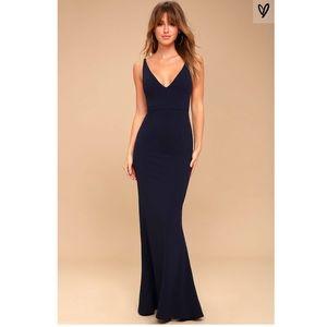 NWT! Lulu's Melora Navy Blue Sleeveless Maxi Dress